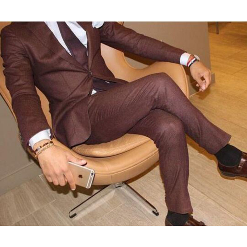 High quality mens suits formal business leisure brown men suit custom wedding the groom's best man suit dress Christmas party