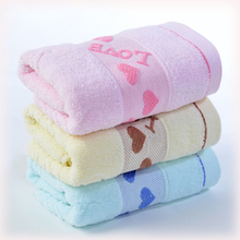 Quick-Dry Towels 70*140cm Pure Cotton Thicken Bath Towels with Heart Pattern Absorbent Beach Bath Towels(China)