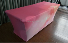 Stretch Fabric Table Cover 8 foot Custom Printed Full Color Dye Sublimation, Exhibition table clothes(China)