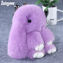 ISINYEE Cute Pluff Bunny Keychain Rex Genuine Rabbit Fur Key Chains For Women Bag Toys Doll Fluffy Pom Pom Lovely Pompom Keyring