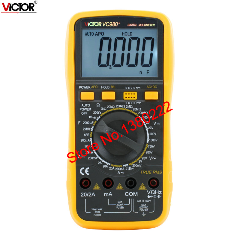 VC980+  4 1/2 True RMS Digital Multimeter  Resistance Frequency backlit universal table  Ammeter Multitester<br><br>Aliexpress