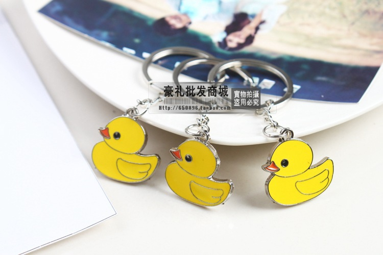 FREE shipping by FEDEX 100pcs/lot 2015 New Cheap Hot Selling Yellow Duck Keychains Metal Duck Keyrings for Gifts
