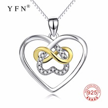 YFN Genuine 925 Sterling Silver Infinity Love Necklace Love Heart Crystal Pendants Necklaces Fashion Christmas Gift For Women(China)