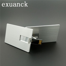 exuanck Laser Print Custom Business Logo Metal Credit Card USB 2.0 4GB 8GB 16GB 32GB Pen Drive For Computer(China)