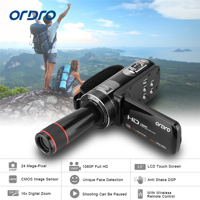 ORDRO HDV-Z8 1080P Full HD Digital Video Camera 24 MP LCD Touch Screen Camcorder with 12x Telephoto Lens Support Face Detection(China)