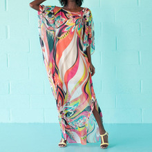Buy 2018 Flower Long Summer Dress Sexy Round Neck Half Sleeve Loose Print Beach Maxi Women Dresses Boho Style Oversized Vestidos for $11.22 in AliExpress store