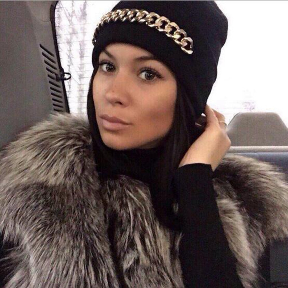 Gold Plated Chain Decoration Slouch Hat Cap Beanie Unisex Women Mens Knitted Knit Winter Warm Hats 2017 NewÎäåæäà è àêñåññóàðû<br><br><br>Aliexpress