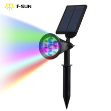 T-SUNRISE 7 LED Solar Spot light Auto Color-Changing Outdoor Lighting Solar Powered Lamp Landscape Wall Light for Decoration(China)