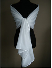 White / ivory chiffon wedding jacket bridal shawl wrapped satin shawl wrapped