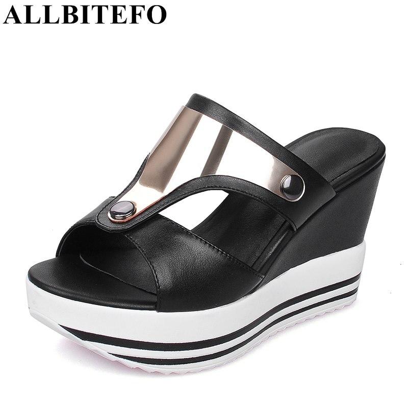 ALLBITEFO large size:34-44 full genuine leather peep toe wedges heel platform women sandals fashion high heels summer sandals<br>