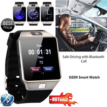 Free Shipping Hot Sales Mobile Phone Watch Black DZ09 Smartwatch Latest Card Bluetooth Support Android Apple System(China)