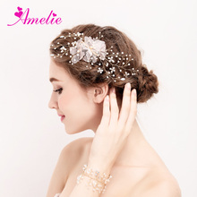 Free Shipping Handmade 2017 Frosted Floral Jewels With Rhinestone Bridal Hair Clip And Bracelet Set Wedding Accessories(China)