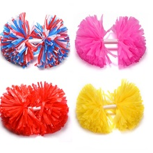 Cheerleading Pom Poms Cheerleaders Hand Flowers with Plastic hand stick PVC Hand Flowers Pompoms Supplies,44 colors,5#,1-12pc
