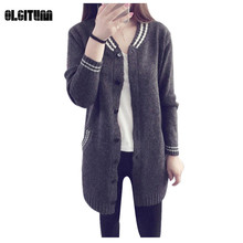 OLGITUM Long Sweaters 2017 Women Baseball cardigan Female Sweaters Long Sleeve Knitted Slim Women Sweater Cardigan