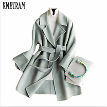 KMETRAM spring and autumn fashion women's 100% Wool cashmere coat Double wool casaco Turn-Down collar Winter wool coat HH239(China)