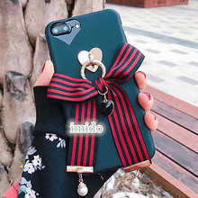 fashion stripe Bowknot ribbon pearl gemstone pendant cell cover for apple iphone5 5s 6 6s plus iPhone7 7P soft mobile phone case