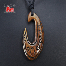 1PC Hawaiian Handmade Carved New Zealand Maori Ox Bone Necklace FISH HOOK Pendant Fashion Woman's Man's Surfer Choker Free Ship