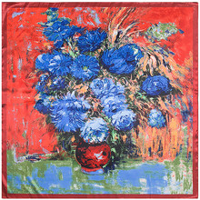 [LESIDA] Silk Scarf Van Gogh Oil Painting Chrysanthemum And Vase Print Bandana Red Floral Square Scarf Women Shawl 90*90CM 9209