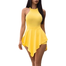 Casual Rompers Jumpsuit Womens 2019 Nova Sexy Lady Backless Halter Mangas Bodycon Macacão Bodysuit Elegante Fino Mulheres Romper(China)