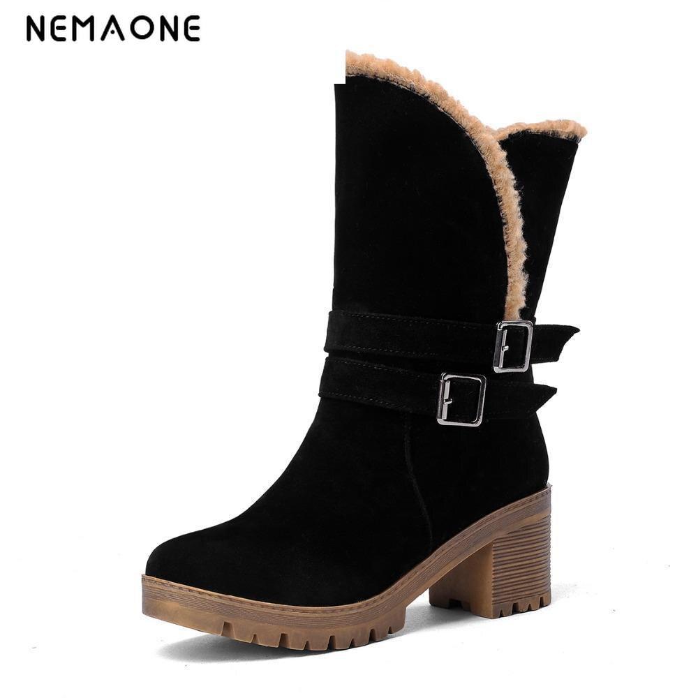 NEMAONE  Big Size 34-43 Fashion Buckle Warm Snow Boots With Fur Woman Winter Shoes Boots Women Short Fur Shoes black 11 12<br>