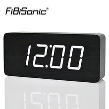 FiBiSonic 2017 New Design Wood LED Digital Clocks, Voice Control Big Numbers Wooden Alarm Clock with Temperature