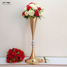 10PCS/LOT 70cm/28'' Floor Vase Metal Flower Vase Table Centerpiece For Mariage Metal Flowers Vases For Wedding Decoration 003(China)