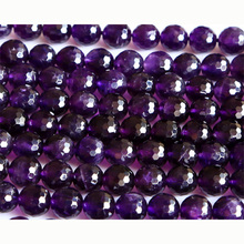 "Wholesale Natural AAA Grade Amethyst Purple Crystal Faceted Round Loose Stone Beads 3-18mm Fit Beads 15"" 02889(China)"