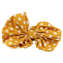SAF-Lovely Lady Bow Headband Ponytail Holder Hair Tie Band (Turmeric + white spots)(China)