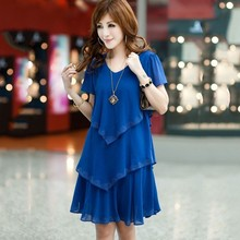 Buy ROPALIA Plus Size Summer Women Clothing Chiffon Dress Dresses Party Short Sleeve Casual Vestido De Festa Blue Black Robe Femme for $14.76 in AliExpress store