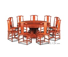 1.8M Rosewood Round Table Set include 9 Chair Solid Wood Armchair Desk Classic Cafe Red wooden Annatto Dining Room Furniture set