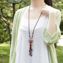 fashion ethnic jewelry ceramic Tibetan silver double fish vintage necklace ,New women sweater necklace pendants(China)