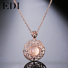 EDI women necklaces & pendants female Genuine Natural Gemstone Pink Rose Quartz Pendants 925 Sterling silver jewelry collares(China)