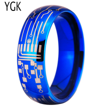 Free Shipping YGK JEWELRY Hot Sales 8MM Shiny Blue Dome CIRCUIT BOARD Design New Men's Fashion Tungsten Ring(China)