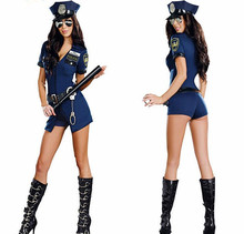 Hot Sexy lingerie women uniform temptation blue zipper police sexy party game dress sexy costumes(China)
