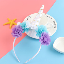 1PC Cute Children Girls Rainbow Unicorn Horn Chiffon Unicorn Headband Glitter Hairband Party DIY Hair Decorative Accessories(China)