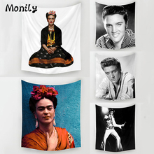Monily New Hot Elvis Presley Polyester Frida Carlo Printed Hanging Wall Tapestry Home Decor Yoga Mat Living Room Decoration