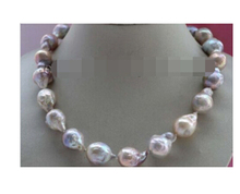 Free shipping Natural 15mm Multicolor Baroque Edison Reborn Keshi Pearl necklace