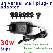 30W Universal AC Wall Plug in Power Adapter 3v 4.5v 5v 6v 7.5v 9v 12v charger with 6 pieces connection tip power supply(China)