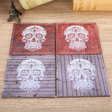 LINKWELL Set of 4 10cmx10cm Happy Halloween's Day Ornament Wood Slat Sugar Skull Coasters Cup Holder Coffee Coasters Cup Mat