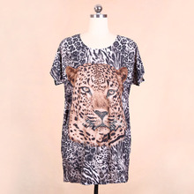 Blingstory Wholesale Two-sides loose Beading Diamond shirt Animal Tiger t-shirt women clothing Dropship TL811