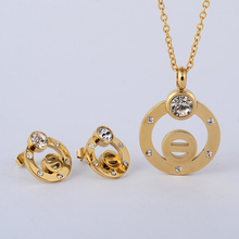 Christmas gift Mother's Day gift Fashion Jewelry Sets stainless steel set for woman for girl blue light Earrings and pendant