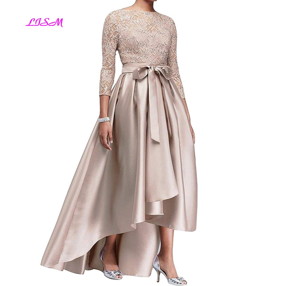 Champagne Hi-Low High Low Mother of The Bride Dresses with Bows 3/4 Sleeves Formal Evening Party Gowns Elegant Mother Dress