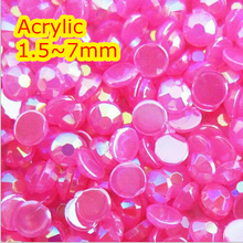 Jelly Rose AB Color 1.5~7mm All size Choice Flat Back Round Acrylic rhinestone,Acrylic 3D Nail Art / Garment Rhinestone