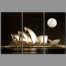 Modern city Sydney Opera House decoration dark night wall art pictures black and white moon Canvas Painting living room unframed(China)