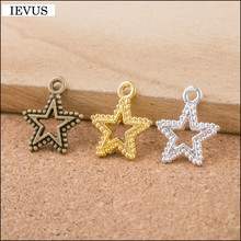 Hot selling 30 Pieces/Lot 17mm*15mm three colors plated hollow out small star charm diy star pandent charm for jewelry making