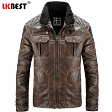 LKBEST 2017 Retro Winter Leather Jacket  Fashion Punk Men's Leather Jacket Brand PU Motorcycle Jacket Plus Size Overcoat (PY19)