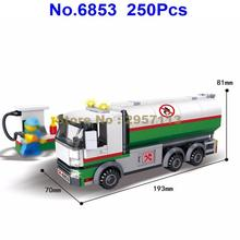 6853 250pcs City Engineering Oil Tanker Tank Truck Building Block Brick Toy(China)
