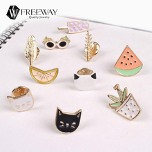 10 Style Fashion Alloy Charm Costume Collar Brooch Pins Jewelry Accessories For Women Feather Shape Cat Broches Badge Girl Gift