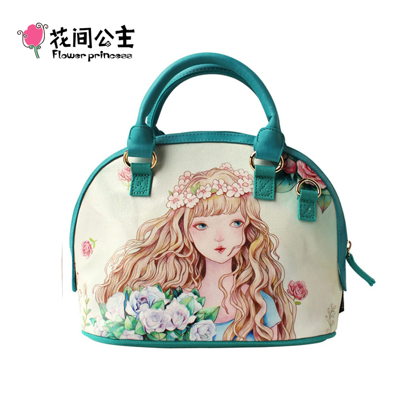 Flower Princess Womens Canvas Shell Bag Female Handbags Shoulder Messenger Bag Bolsa Feminina Crossbody Tote Bag Handtassen  <br>