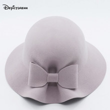 2017 Autumn and Winter Brand Wool Boater Big bowknot dome Top For Women's Felt Wide Brim Fedora Hat(China)